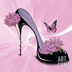 Art Print: Poster of E. Serine by E. Frames For Canvas Paintings, Canvas Art, Adult Party Themes, Image 3d, Image Originale, Flower Shoes, Fancy Shoes, 3d Drawings, Affordable Wall Art