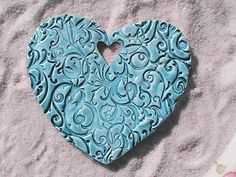 Polymer Clay OOAK Large Textured Heart Ornament
