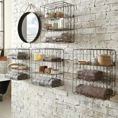 Creative storage ideas industrial bathroom via housetohome www. Creative storage ideas industrial bathroom via housetohome www. Villa Design, Design Hotel, Industrial Shelving, Industrial House, Industrial Interiors, Rustic Industrial, Industrial Design, Wire Shelving, Industrial Decorating