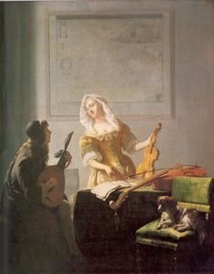 Jacob Ochterveldt, The Music Lesson (1671)  Music, maps and a Cavalier.....have to pin this one