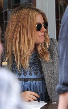 sienna miller, hair, light orange hair, ombre. Good shorter long hair.