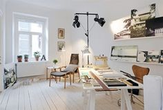 Inspiration for the office/studio. White,white, white. Great studio lights too. Perfect.