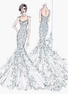 Custom Wedding Gown Illustration FRONT and by IllustrativeMoments, $205.00