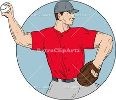 American Baseball Pitcher Throwing Ball Circle Drawing Vector Stock Illustration.  Drawing sketch style illustration of an american baseball player pitcher outfilelder throwing ball viewed from the side set inside circle on isolated background. #illustration   #AmericanBaseballPitcher