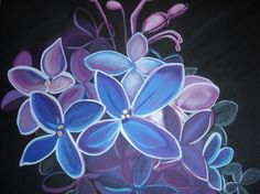 Midnight Lilacs Painting by hotjavva on Etsy, $75.00