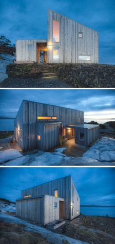 TYIN Tegnestue Architects have designed this small 645 square foot (60sqm) cabin that sits on top of rocks by the sea in Møre og Romsdal, Norway.