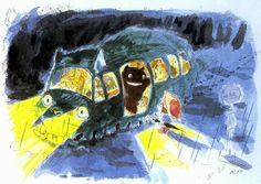 part 2 of 'My Neighbor Totoro' animated movie concept art by creator & director; Hayao Miyazaki, Manga Illustration, Illustrations, Studio Ghibli Art, Manga Cute, Nerd Art, My Neighbor Totoro, Sketchbook Inspiration, Watercolor Sketch