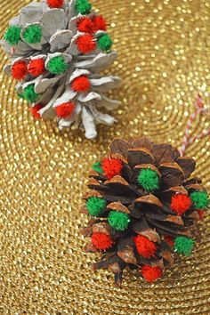 These pom pom pine cone ornaments are fun and easy to make and take only minutes. They would make a great addition to your tree or easy gift for kids to give this year. Cute Kids Crafts, Easter Crafts For Kids, Craft Stick Crafts, Diy Crafts, Simple Crafts, Craft Ideas, Felt Crafts, Fun Ideas, Paper Crafts