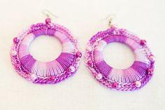 Rainbow purple  earrings / Crocheted earrings / by SABRINASHANDS, €15.00