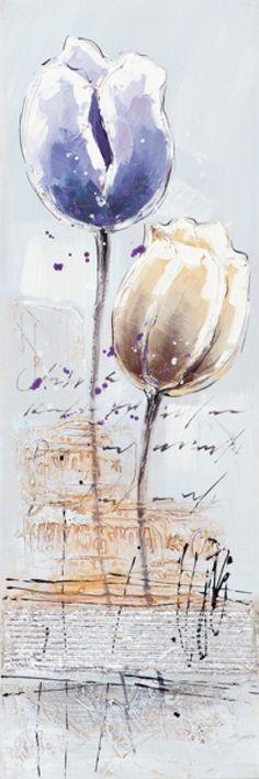 Schilderij 30x90 tulp