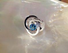 Bague Argent Topaze bleue 7 mm