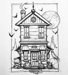 by Mike PhillipsInktober haunted house Creepy Drawings, Dark Art Drawings, Halloween Drawings, Halloween Images, Halloween Patterns, Halloween Art, Haunted House Drawing, Haunted House Tattoo, Horse Tattoo Design