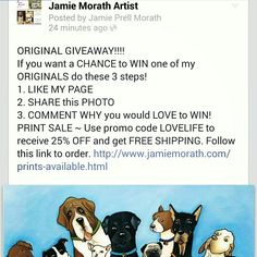 Go to JAMIE MORATH ARTIST fan page on FACEBOOK to ENTER to WIN an ORIGINAL!