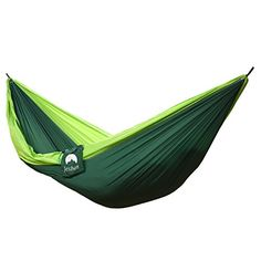 Captivating JESBAN Double Portable Camping Hammock Parachute Nylon Fabric Travel Camping  Hammock(DGreen/LGreen)