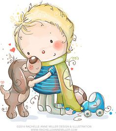 Rachelle Anne Miller is a published children's illustrator selling art prints and greeting cards of her whimsical artwork. Cute Images, Cute Pictures, Anna Miller, Boy Best Friend, Bullet Journal Art, Cute Clipart, Friend Tattoos, Children's Book Illustration, Digital Stamps