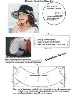 Costura e Modelagem Hat Patterns To Sew, Easy Sewing Patterns, Doll Clothes Patterns, Clothing Patterns, Denim Hat, Hat Tutorial, Turban Hat, Hat Making, Fascinator Hats