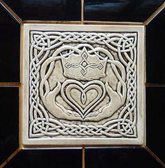 Decorative handmade ceramic tile: Celtic Claddagh, decorative ceramic tile
