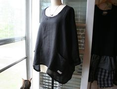 Black Washed Linen 'Sara' Shirt / Lagenlook Asymmetric Hem Twisted Seam Linen Tunic / Plus Size