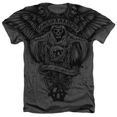 """Checkout our #LicensedGear products FREE SHIPPING + 10% OFF Coupon Code """"Official"""" Sons Of Anarchy/winged Reaper-adult Heather-charcoal-smt- Shirt - Sons Of Anarchy/winged Reaper-adult Heather-charcoal-smt- Shirt - Price: $24.99. Buy now at https://officiallylicensedgear.com/sons-of-anarchy-winged-reaper-adult-heather-charcoal-smt-shirt-licensed"""