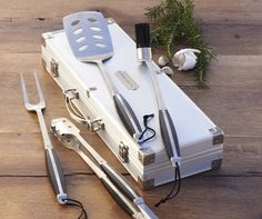 Shop grilling tools from Williams Sonoma. Our expertly crafted collections offer a wide of range of cooking tools and kitchen appliances, including a variety of grilling tools. Bbq Tool Set, Bbq Set, Grill Accessories, Bbq Grill, Grilling, Barbecue, Helfer, Outdoor Cooking, Outdoor Kitchens