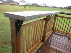 Bar on wood deck.  See Steel Supports