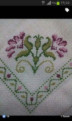 Pic Share ~ Cross Stitch border and embellishment. This would be great for a Dinner Roll Basket Cloth, Mini Cross Stitch, Cross Stitch Borders, Cross Stitch Alphabet, Cross Stitch Flowers, Cross Stitch Designs, Cross Stitching, Cross Stitch Patterns, Hardanger Embroidery, Cross Stitch Embroidery