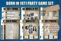 50th Birthday Party Games Born in 1971 1970s Trivia Price   Etsy 50th Birthday Party Games, Anniversary Party Games, 80th Birthday, Wedding Anniversary, 65th Birthday Party Ideas, Anniversary Ideas, Special Birthday, Pearl Anniversary, Surprise Birthday