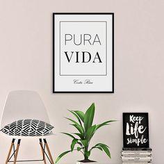 Pura Vida Costa Rica Print, Black and White, Minimal Art, Living Room Decor, Pura Vida Decor, Typography Art, Quote Wall Art, Printable