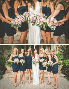 blue bridesmaid dresses- love the shade