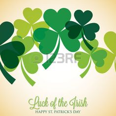 Overlapping shamrock St Patrick s Day card Stock Vector