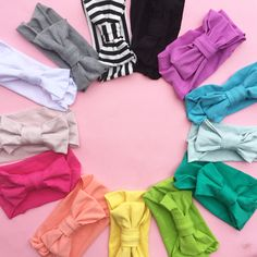 These bamboo big bow turbans from Oh So Vera are the perfect gift for baby because they'll fit for YEARS! One size fits all from newborn to toddler and beyond. They come in 13 vibrant colors that pair perfectly with leggings, dresses, and tunics! Adorable for newborn pictures and perfect for sibling sets, these bows are a must have in every baby girls' wardrobe. Baby headbands with big bows have never been more stylish, soft, or comfortable! The entire set is available at a discount as well.