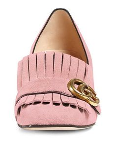 X34JL Gucci Marmont Fringe Suede 55mm Loafer, Crystal Pink