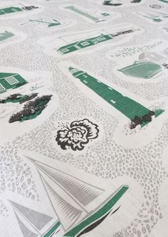 Image of Dungeness Linen Fabric - Coach Emerald - good way of showing a variety of motifs