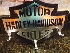 Harley Davidson Bar Shield Heavy Duty Wood Metal Plaque with 3 Hooks | eBay