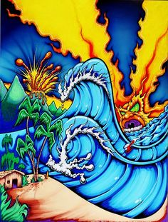 LOST HAWAII (c) Drew Brophy 2000 - Mixed Media on Wood - design used for ...Lost apparel
