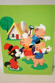"On Ruby Lane - Vintage Walt Disney ""Three Little Pigs"" Post Card- 1960's"