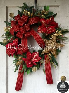 Christmas wreath red and gold poinsettia by MrsChristmasWorkshop