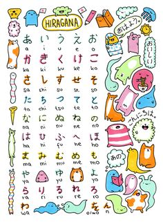 Japanese Alphabet Study Sheet - Hiragana - by KiraKiraDoodles