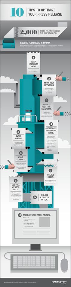 10 ways to draw more attention to your press release: This #infographic from Ervin & Smith offers some helpful tips for making your news more visible on the wires. #PR #pressrelease