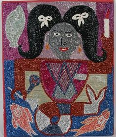 Haitian Voodoo Flag. Mermaid. Not signed or dated. c. 1990's. Sequins hand sewn to backing