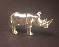 Silver Rhino Figurine + Placeholder handmade from Zimbabwe, Africa