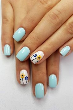 Spring nails are cute yet fashionable. Find easy latest spring nail designs, ideas & trends in spring coffin nails, acrylic nails and gel spring nail colors. Cute Acrylic Nails, Cute Nails, Pretty Nails, Flower Nail Designs, Cute Nail Art Designs, Nail Designs Spring, Types Of Nails, Diy Nails, Manicure Ideas