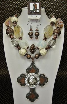Etsy...chunky cowgirl jewelry, antique colors
