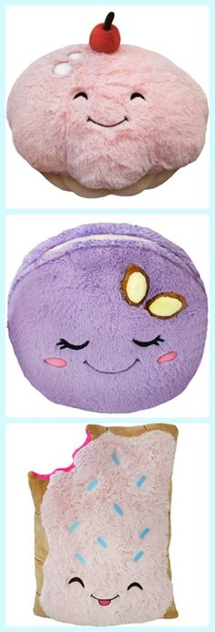 Squishable food plush pillows, from cupcakes to macarons. Fun gift idea for kids!