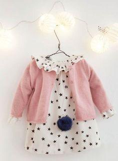 Cute patterned dress with peter pan collar + Pastel pink cardigan... so cute (kids)