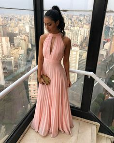 Simple chiffon long prom dress, chiffon pink bridesmaid dress, customized service and Rush order are available Pink Party Dresses, Cute Prom Dresses, Prom Dresses For Teens, Pretty Dresses, Beautiful Dresses, Bridesmaid Dresses, Formal Dresses, 1950s Dresses, Formal Prom