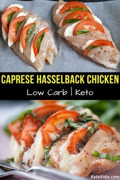 Tasty Caprese Hasselback Chicken Breast Low Carb Recipe - - Are you bored eating grilled chicken breast? Why don't you try our recipe for tasty Caprese hasselback chicken breast? Poulet Hasselback, Hasselback Chicken, Grilled Chicken, Stuffed Chicken Recipes, Healthy Stuffed Chicken, Baked Caprese Chicken, Rotisserie Chicken, Roasted Chicken, Low Carb Recipes