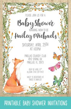 Printable Invitations Fox and Butterfly Baby Shower