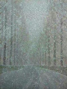 Snowy Yangjaechun-Street.  2011. 53.0 x 40.9cm. Oil on Canvas