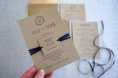 Wedding Invitations - Rustic No. Kraft Card, Ribbon embellishment and swing tag. Vintage Wedding Invitations, Wedding Invitation Templates, Wedding Stationery, Paper Store, Kraft Envelopes, Paper Goods, Thank You Cards, Your Cards, Our Wedding